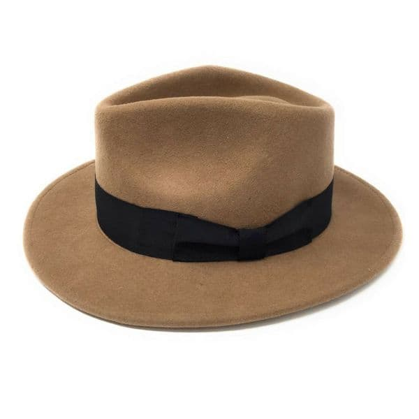Camel Wool Fedora Hat, Crushable & Showerproof - Indy